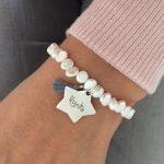 pulsera perla rio placa estrella